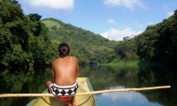 By boat, along the Chagres River, in the Chagres National Park.