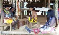 Embera women and girls. The Embera people are one of the few pre-Columbian ethnic groups surviving in Central America.