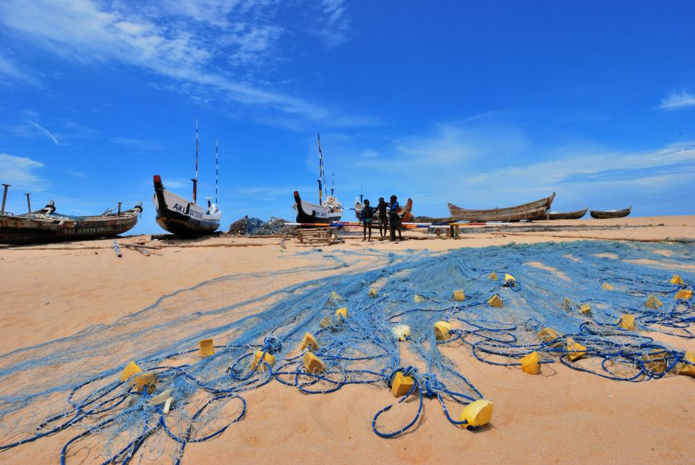 Fishing net on the beach in Elmina, Ghana.
