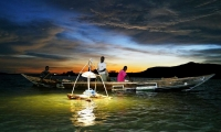 Night fishing at Lake Victoria, Uganda.