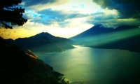 Lake Atitlan. Atitlan is the Nahual word for 'place of water'