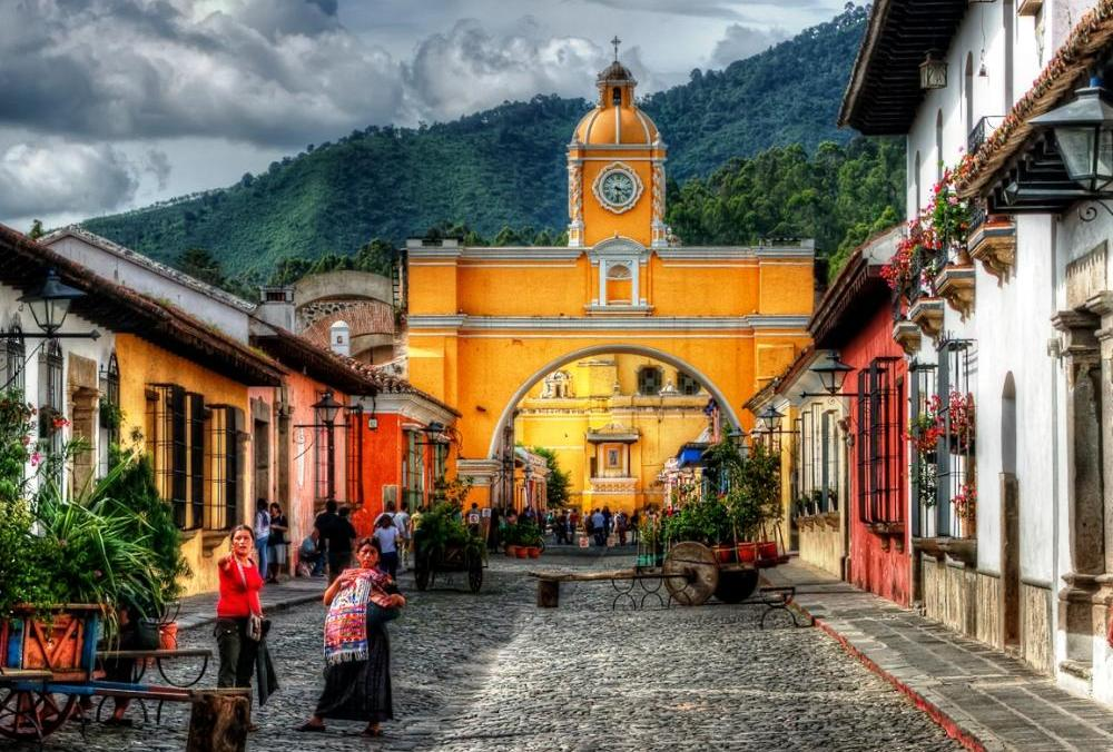 Antigua in the central highlands of Guatemala famous for its well-preserved Spanish Baroque-influenced architecture.