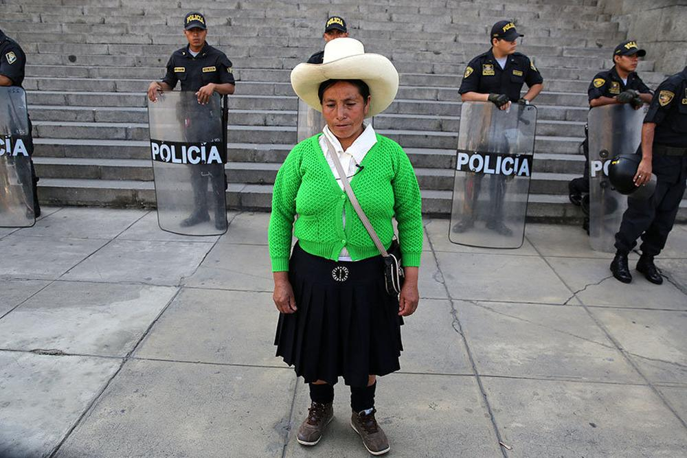 Farmer Maxima Acuna, from the northern Peruvian highlands of Cajamarca, leaves the Supreme Court in Lima, Peru, during her trial against the Yanacocha copper and gold mine.