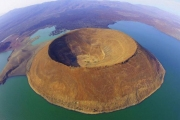 Nabiyotum Crater in Lake Turkana, Kenya.