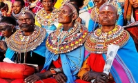 Kenya. Maasai women dressed in their traditional regalia attend a memorial service in Nairobi.