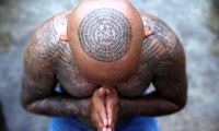 Thailand. A devotee attends the religious tattoo festival at Wat Bang Phra Monastery, in Nakhon Pathom province.