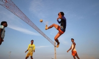 Bangladesh. Rohingya refugees play Chinlone at a refugee camp in Cox's Bazar.
