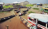 "Ganvié, a village nicknamed the ""Venice of Africa"", on Lake Nakoué not far from Cotonou in Benin."