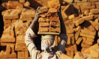 Child worker in a Brick factory on the outskirts of Kathmandu, Nepal.