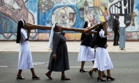 South Africa. Nuns carry a cross during a silent march in Durban.