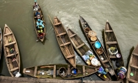 Canoes and their goods seen from above in Makoko, a slum community. Makoko sits atop some of the most expensive real estate in Nigeria.