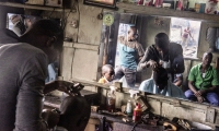 A barber's shop in the Makoko slum.