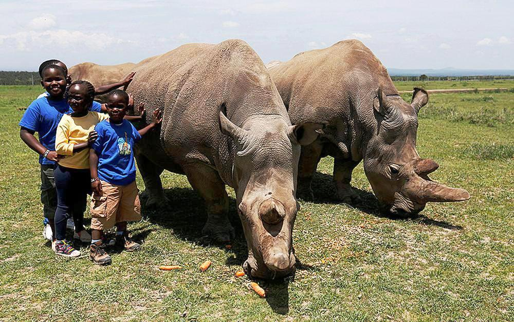 Children pose for a photograph next to the last two northern white rhino females, in Laikipia National Park, Kenya.
