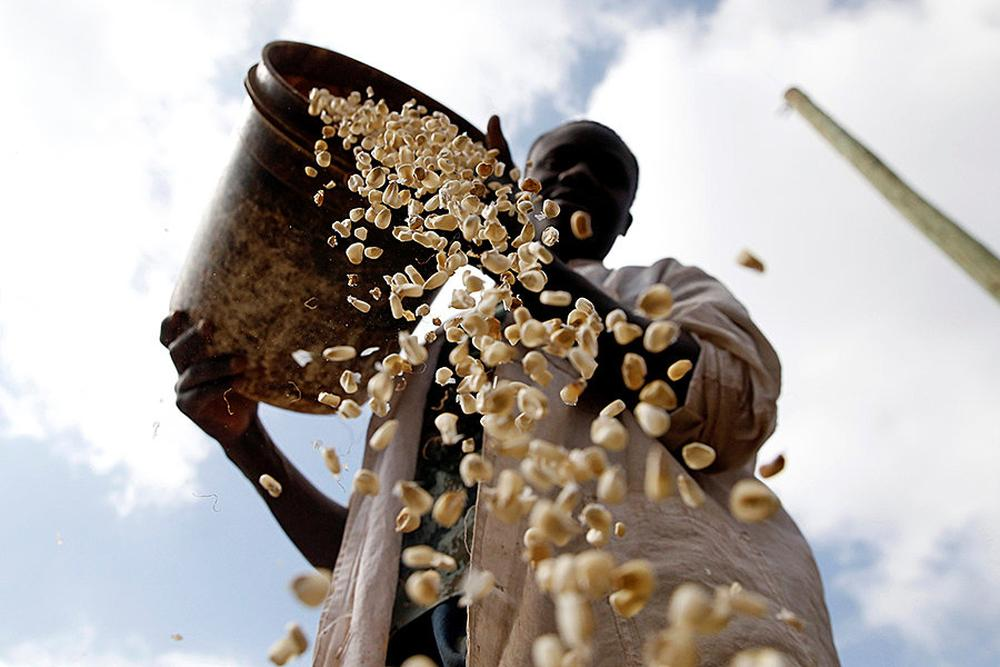 A local miller prepares maize outside his grinding mill in Kibera slums of Nairobi, Kenya