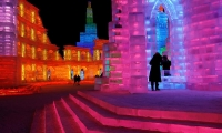 Ice sculpture are illuminated by coloured lights at the annual ice festival in the northern city of Harbin, Heilongjang province