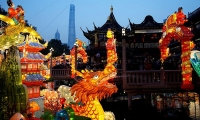 People visit lantern decorations for the upcoming Chinese New Year in Yu Yuan Garden in Shanghai