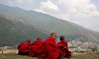 Bhutan. Young monks take a break from their studies at Changangkha Lhakhang temple in Thimphu.