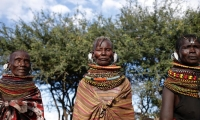 Turkana women wear necklaces they make themselves. They are an indication of social status.