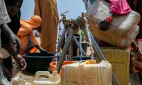 A solar-powered borehole provides water to more than 6,000 residents in a camp for displaced people in Maiduguri in north-eastern Nigeria.