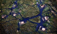 Aerial view of a fishing village.